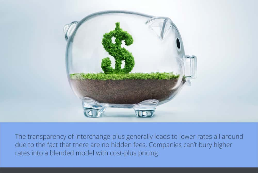 The transparency of interchange-plus generally leads to lower rates all around