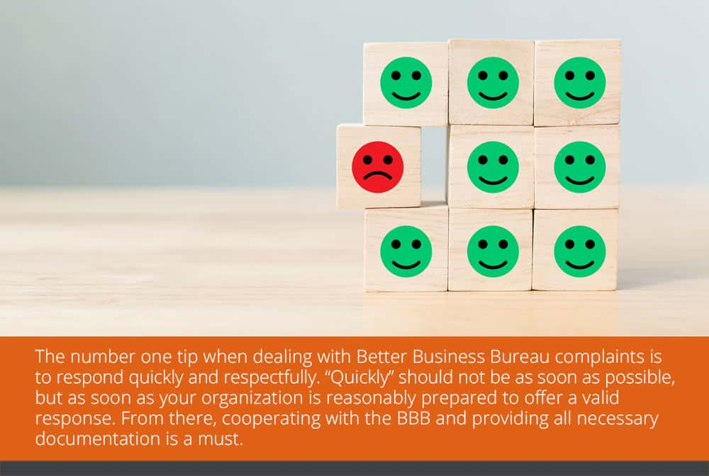 How do I deal with BBB complaints filed against my company?